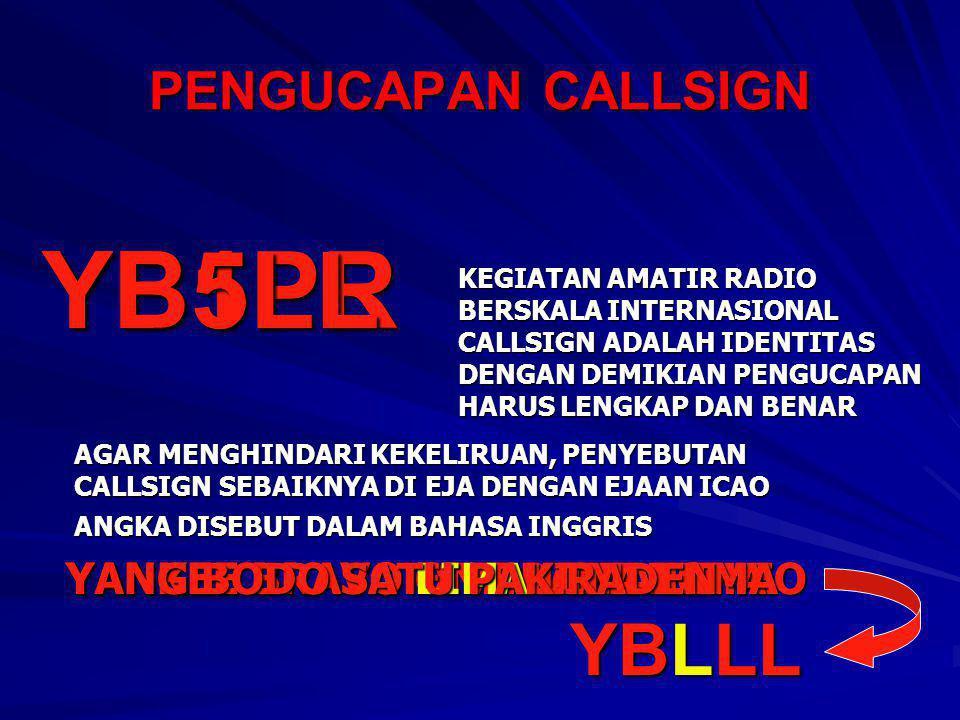 PENGUCAPAN CALLSIGN YB1PR KEGIATAN AMATIR RADIO BERSKALA INTERNASIONAL CALLSIGN ADALAH IDENTITAS DENGAN DEMIKIAN PENGUCAPAN HARUS LENGKAP DAN BENAR AG