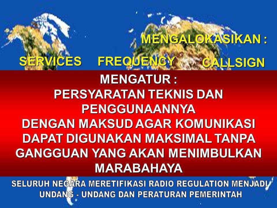 MENGALOKASIKAN : SERVICES FREQUENCY CALLSIGN PENGLOMPOKAN KEBUTUHAN KOMUNIKASI AERO NAVIGASI – SPACE - FIX MOBILE – AMATIR RADIO - DLL PENGATURAN JALU