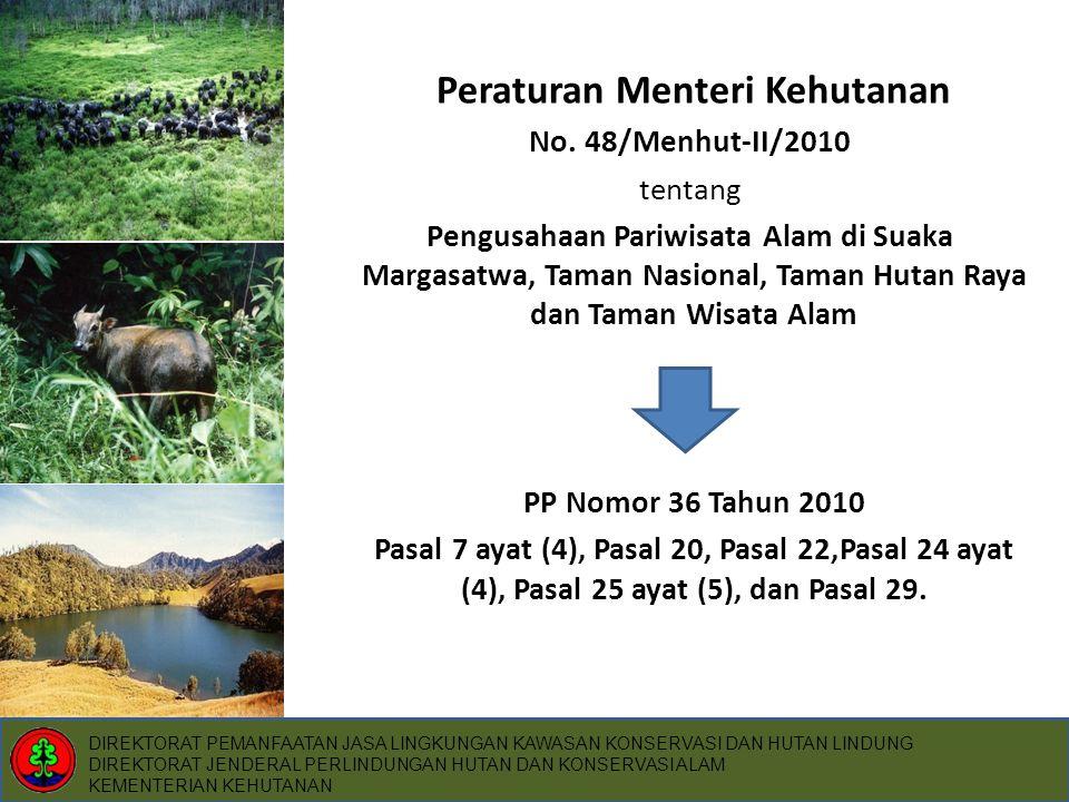 PP Nomor 36 Tahun 2010 • Pasal 7 ayat (4) : Usaha penyediaan jasa wisata alam dan usaha penyediaan sarana wisata alam ditetapkan dengan peraturan Menteri.