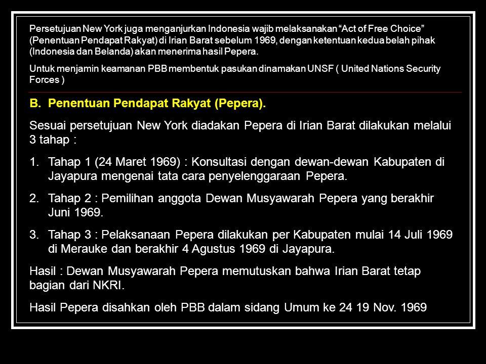 """Persetujuan New York juga menganjurkan Indonesia wajib melaksanakan """"Act of Free Choice"""" (Penentuan Pendapat Rakyat) di Irian Barat sebelum 1969, deng"""