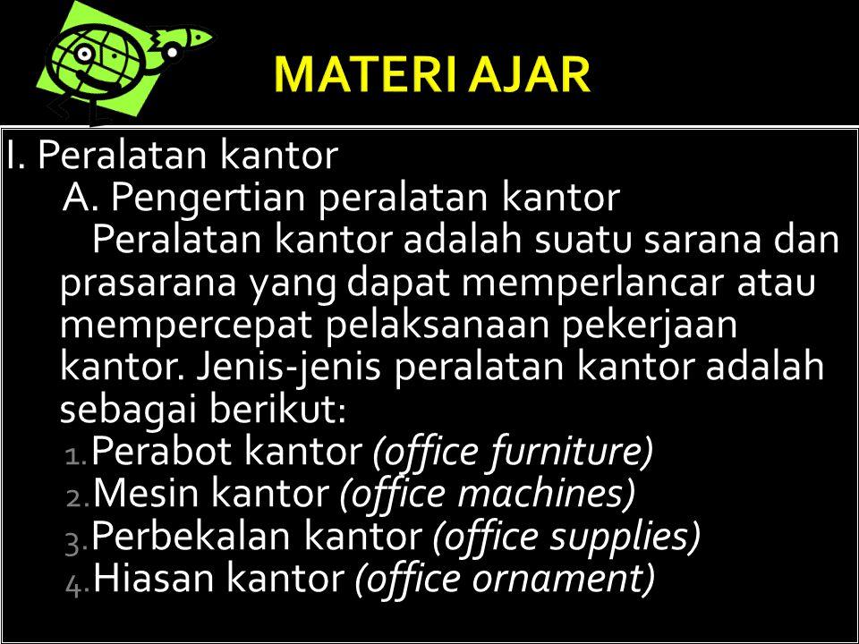 Setelah mempelajari ini, siswa diharapkan dapat:  Mengidentifikasikan tentang peralatan kantor akan membentuk keterampilan menggunakan alat-alat kant