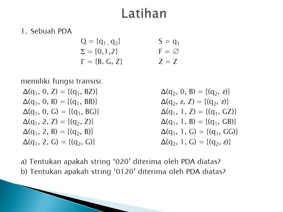 1.Sebuah PDA Q = {q 1, q 2 }S = q 1  = {0,1,2}F = ∅  = {B.