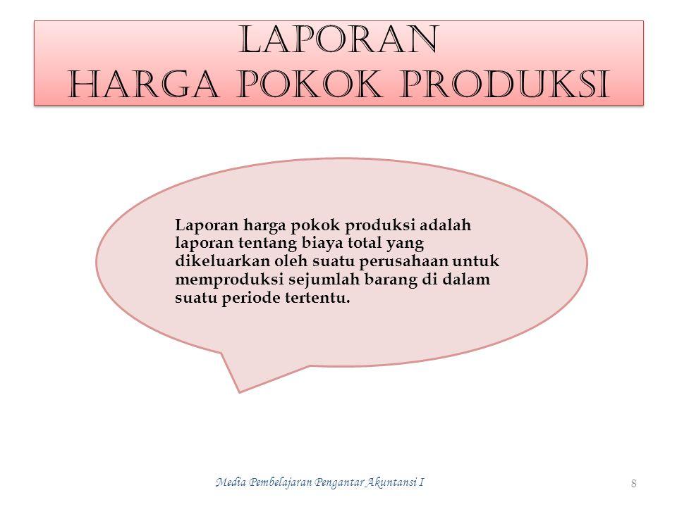 LAPORAN HARGA POKOK PRODUKSI 8 Media Pembelajaran Pengantar Akuntansi I Laporan harga pokok produksi adalah laporan tentang biaya total yang dikeluarkan oleh suatu perusahaan untuk memproduksi sejumlah barang di dalam suatu periode tertentu.