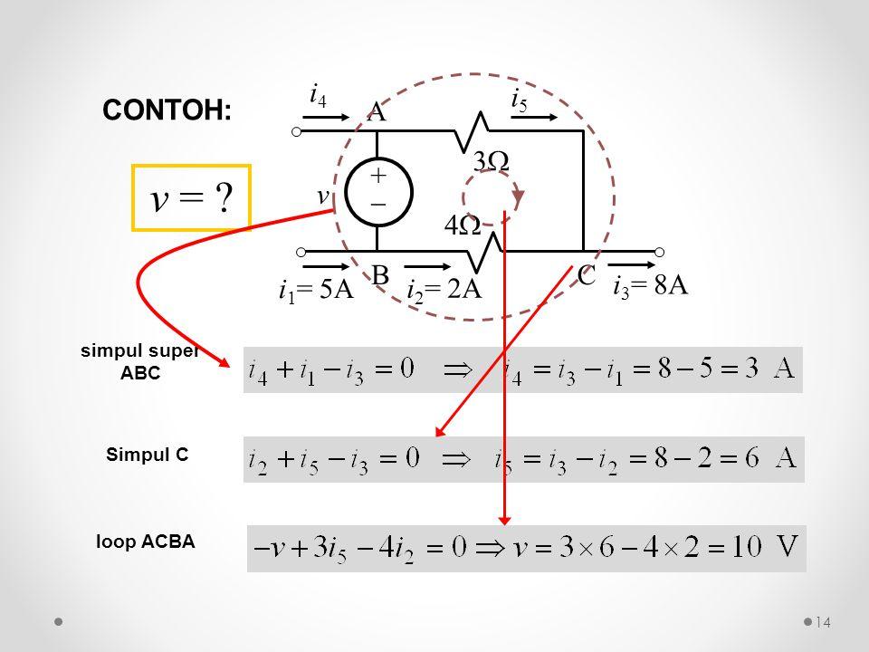 ++ 33 44 v i 4 i 1 = 5A i 3 = 8A A BC i 5 i 2 = 2A simpul super ABC Simpul C loop ACBA v = ? CONTOH: 14