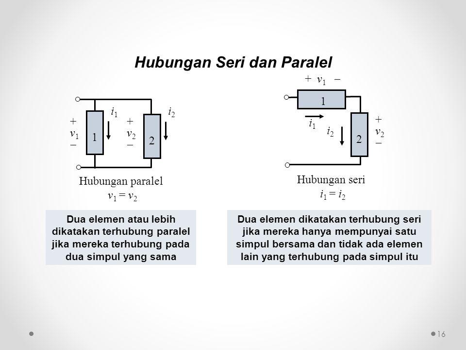 Hubungan paralel v 1 = v 2 i1i1 +v2+v2 2 +v1+v1 1 i2i2 Hubungan seri i 1 = i 2 i1i1 1 + v 1  i2i2 +v2+v2 2 Hubungan Seri dan Paralel Dua elemen atau lebih dikatakan terhubung paralel jika mereka terhubung pada dua simpul yang sama Dua elemen dikatakan terhubung seri jika mereka hanya mempunyai satu simpul bersama dan tidak ada elemen lain yang terhubung pada simpul itu 16