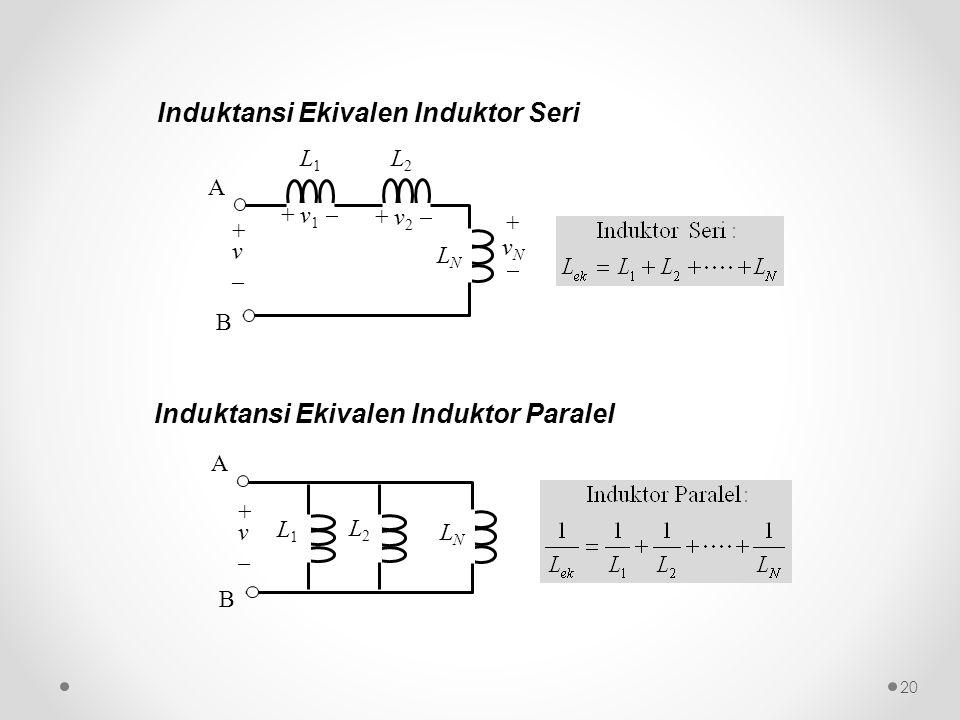 Induktansi Ekivalen Induktor Seri L1L1 L2L2 LNLN A B + v _ + v 1  + v 2  +vN+vN L2L2 L1L1 LNLN A B + v _ Induktansi Ekivalen Induktor Paralel 20