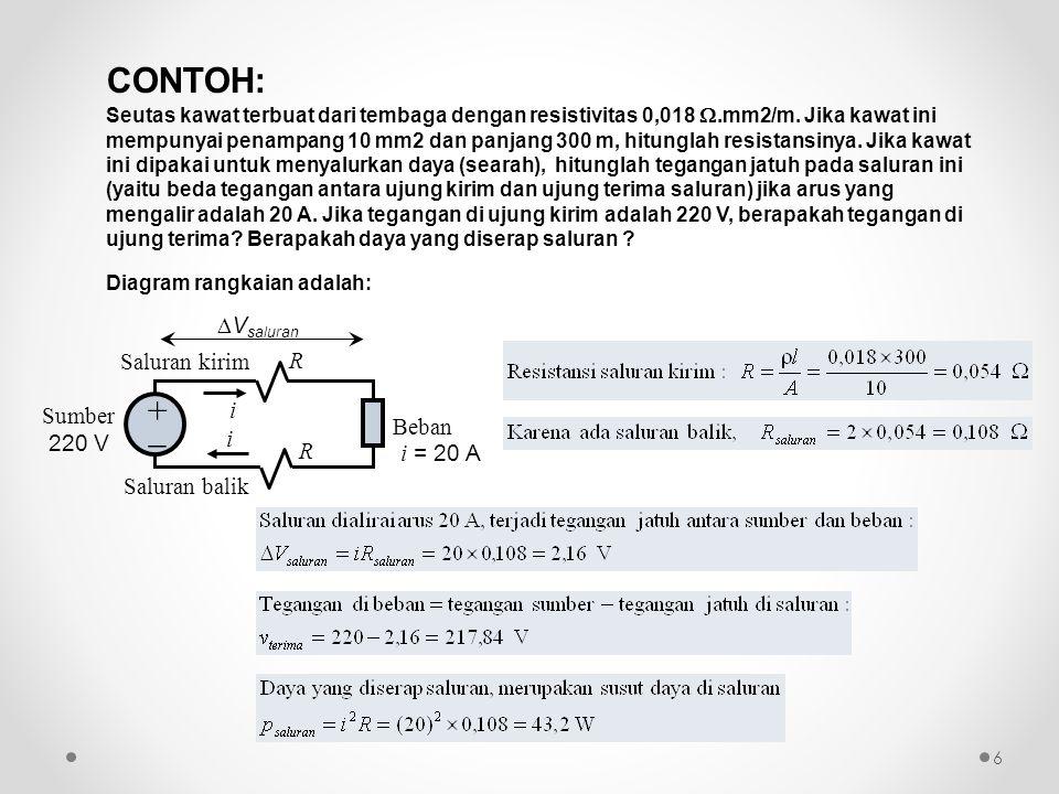 Dua rangkaian disebut ekivalen jika antara dua terminal tertentu, mereka mempunyai karakteristik i-v yang identik 17 R1R1 R2R2 R ekiv + V total  i i Rangkaian Ekivalen Resistor Seri