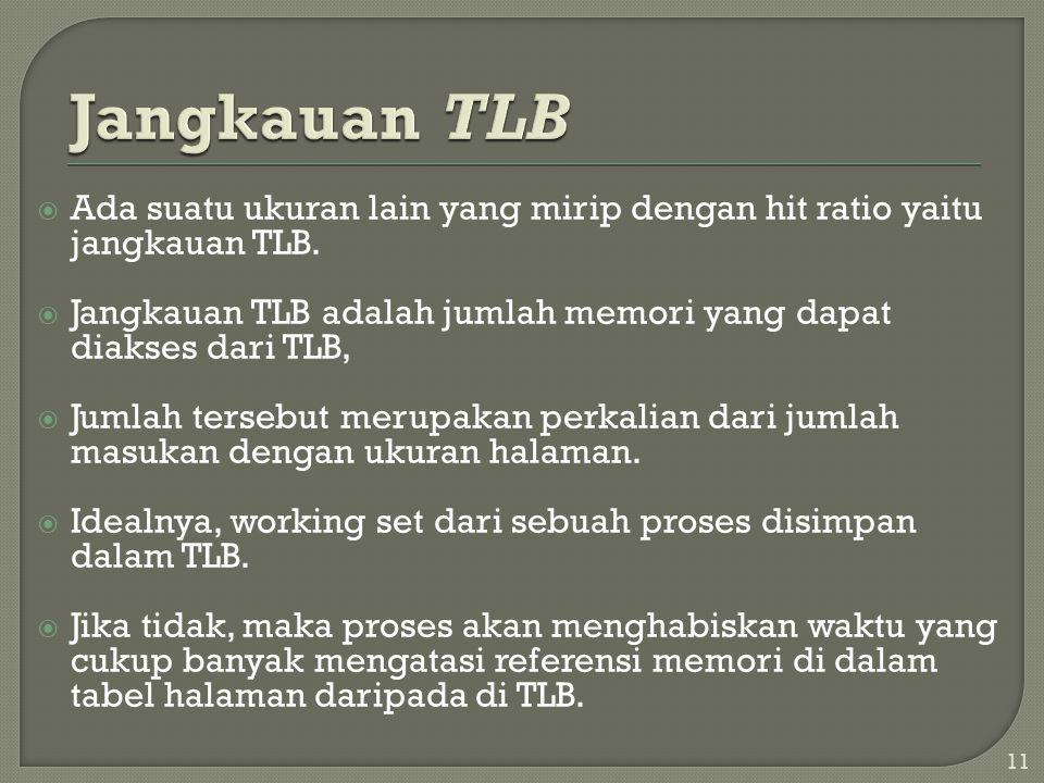  Ada suatu ukuran lain yang mirip dengan hit ratio yaitu jangkauan TLB.  Jangkauan TLB adalah jumlah memori yang dapat diakses dari TLB,  Jumlah te