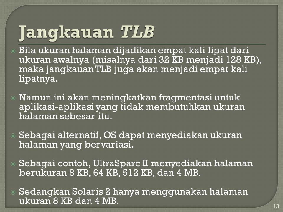  Bila ukuran halaman dijadikan empat kali lipat dari ukuran awalnya (misalnya dari 32 KB menjadi 128 KB), maka jangkauan TLB juga akan menjadi empat
