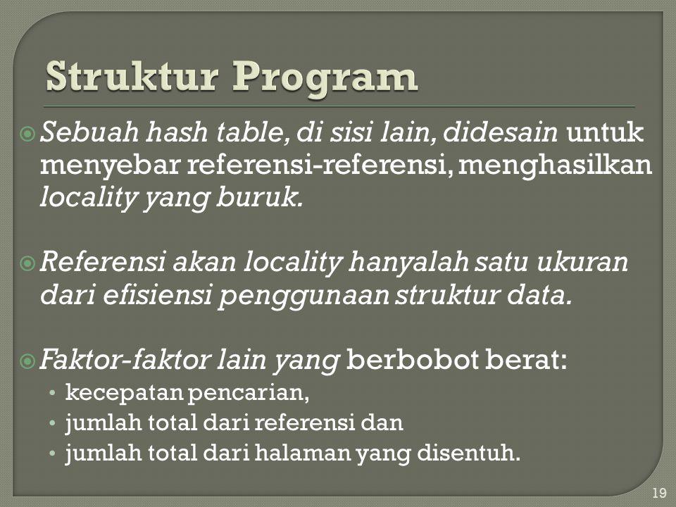  Sebuah hash table, di sisi lain, didesain untuk menyebar referensi-referensi, menghasilkan locality yang buruk.  Referensi akan locality hanyalah s