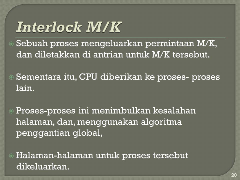  Sebuah proses mengeluarkan permintaan M/K, dan diletakkan di antrian untuk M/K tersebut.  Sementara itu, CPU diberikan ke proses- proses lain.  Pr