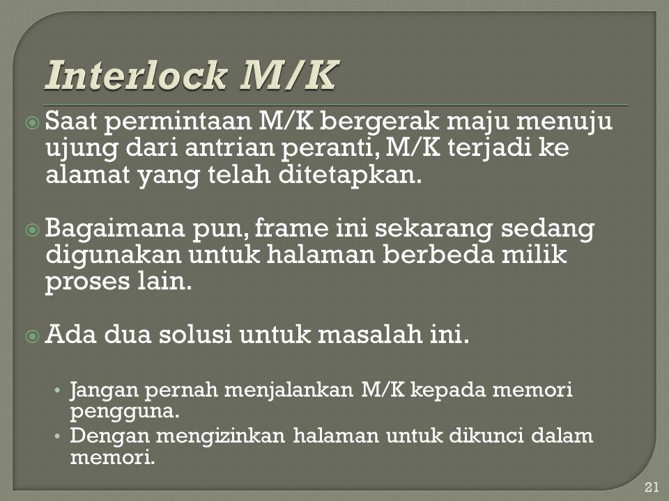  Saat permintaan M/K bergerak maju menuju ujung dari antrian peranti, M/K terjadi ke alamat yang telah ditetapkan.  Bagaimana pun, frame ini sekaran