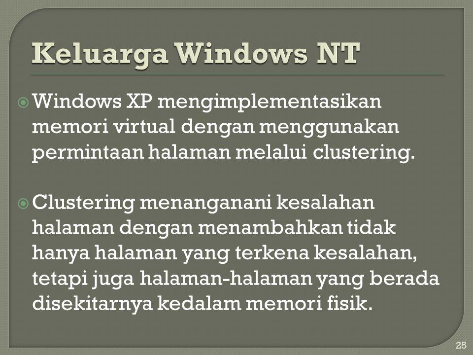  Windows XP mengimplementasikan memori virtual dengan menggunakan permintaan halaman melalui clustering.  Clustering menanganani kesalahan halaman d