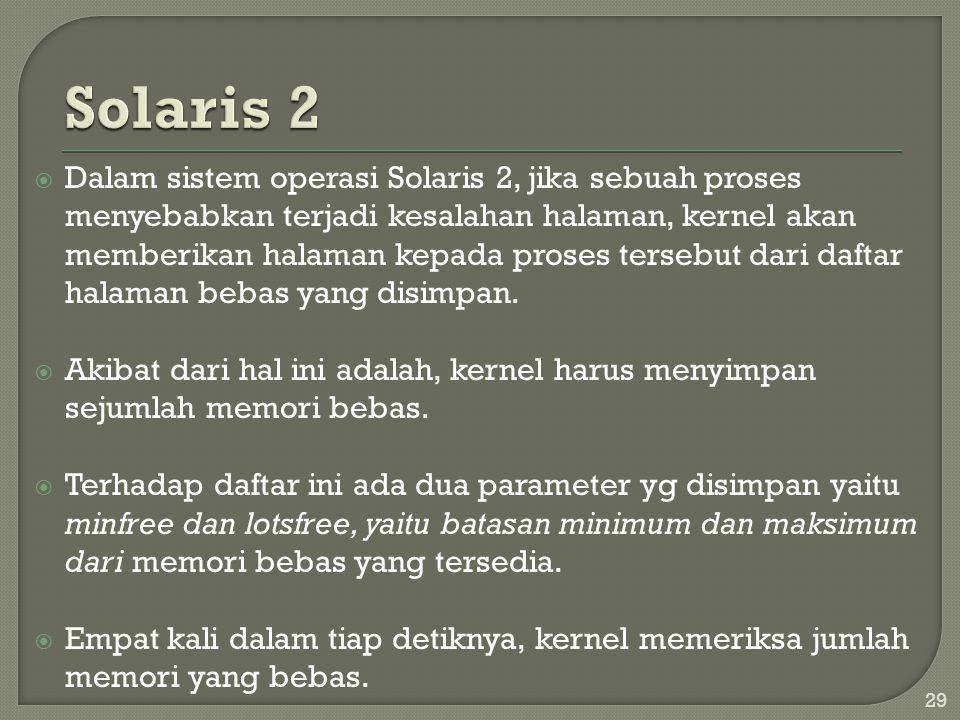  Dalam sistem operasi Solaris 2, jika sebuah proses menyebabkan terjadi kesalahan halaman, kernel akan memberikan halaman kepada proses tersebut dari daftar halaman bebas yang disimpan.