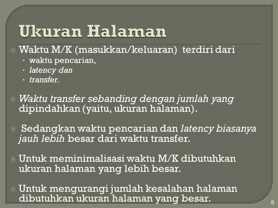  Waktu M/K (masukkan/keluaran) terdiri dari • waktu pencarian, • latency dan • transfer.  Waktu transfer sebanding dengan jumlah yang dipindahkan (y