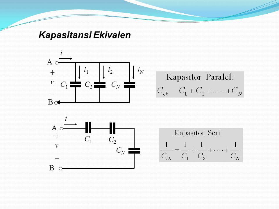 Kapasitansi Ekivalen C1C1 i1i1 C2C2 i2i2 CNCN iNiN B A + v _ i C1C1 C2C2 CNCN B A + v _ i
