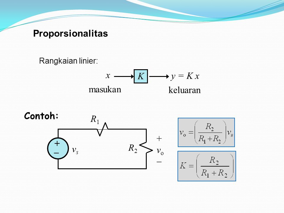 Proporsionalitas K x y = K x masukan keluaran +vo+vo vsvs R1R1 R2R2 + _ Rangkaian linier: Contoh: