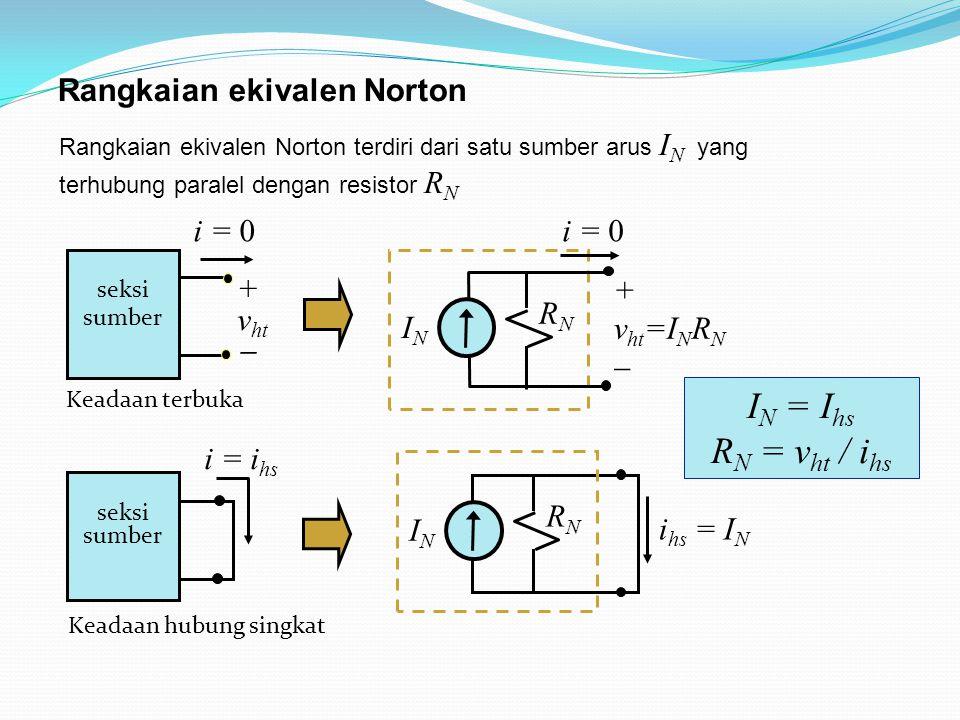Rangkaian ekivalen Norton terdiri dari satu sumber arus I N yang terhubung paralel dengan resistor R N Rangkaian ekivalen Norton i = i hs seksi sumber Keadaan hubung singkat i = 0 seksi sumber + v ht  Keadaan terbuka i hs = I N ININ RNRN i = 0 ININ RNRN + v ht =I N R N  I N = I hs R N = v ht / i hs