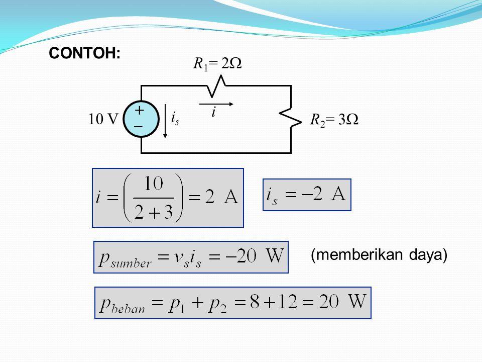 10 V R 1 = 2  R 2 = 3  + _ i isis (memberikan daya) CONTOH: