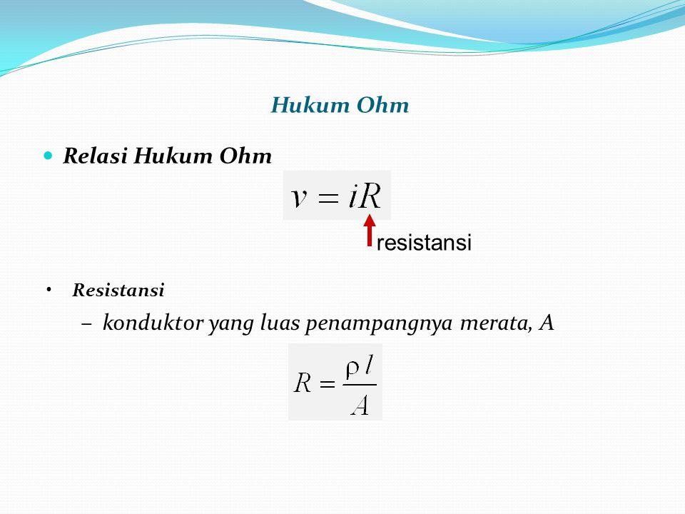  Relasi Hukum Ohm Hukum Ohm •Resistansi –konduktor yang luas penampangnya merata, A resistansi