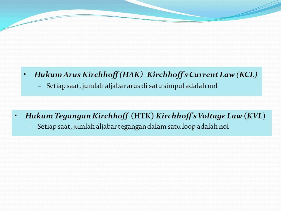 •Hukum Tegangan Kirchhoff (HTK) Kirchhoff s Voltage Law (KVL) –Setiap saat, jumlah aljabar tegangan dalam satu loop adalah nol •Hukum Arus Kirchhoff (HAK) -Kirchhoff s Current Law (KCL) –Setiap saat, jumlah aljabar arus di satu simpul adalah nol