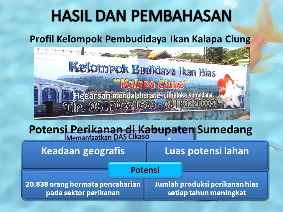 Profil Kelompok Pembudidaya Ikan Kalapa Ciung Potensi Perikanan di Kabupaten Sumedang Keadaan geografisLuas potensi lahan 20.838 orang bermata pencaha