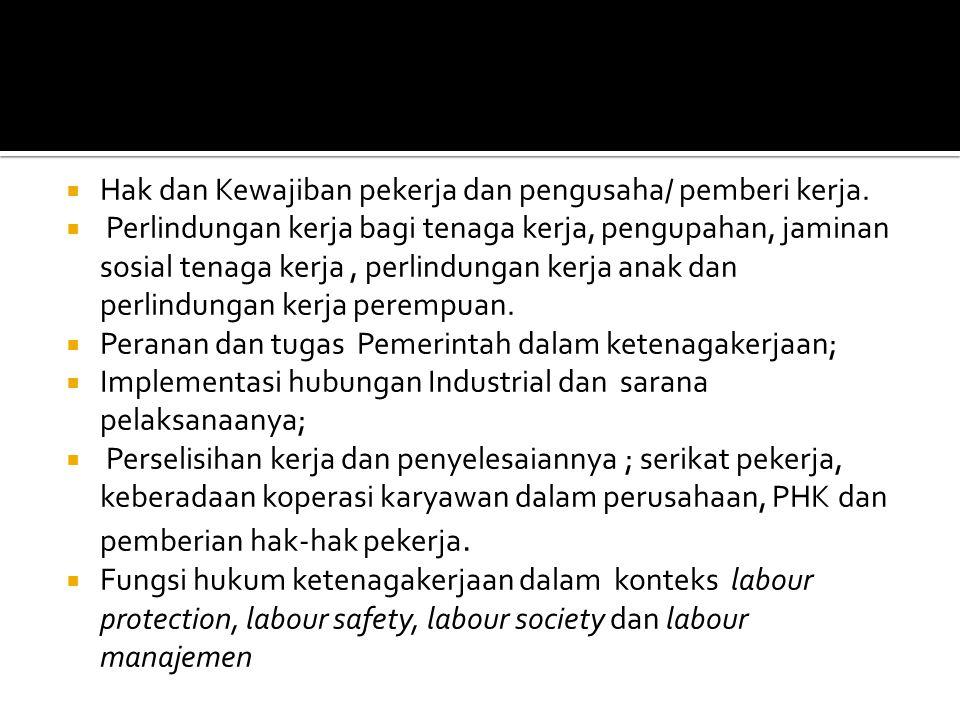  Hak dan Kewajiban pekerja dan pengusaha/ pemberi kerja.