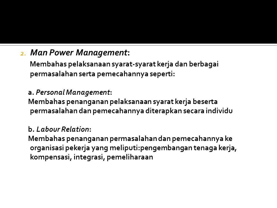 1. Man Power Marketing : Membahas penentuan syarat-syarat kerja yang akan diterapkan dalam pelaksanaan ikatan kerja dalam bentuk antara lain : a.Indiv