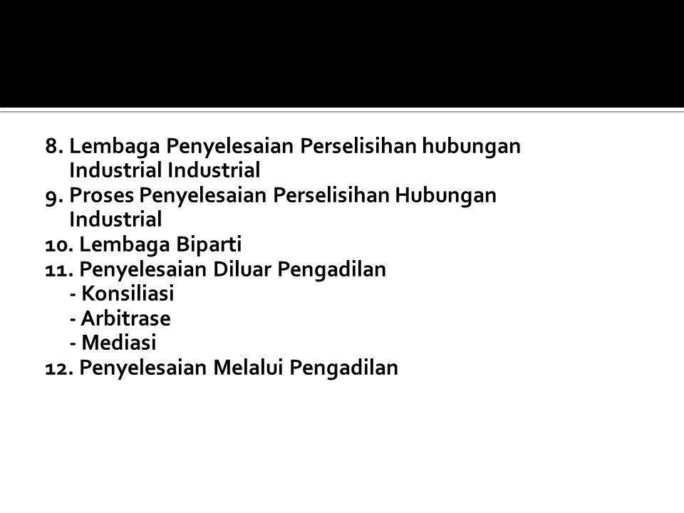 1. Serikat Pekerja 2. Organisasi Pengusaha 3. Lembaga Kerjasama Bipartit 4. Lembaga Kerjasama Tripartit 5. Peraturan Perusahaan 6. Perjanjian Kerja Be