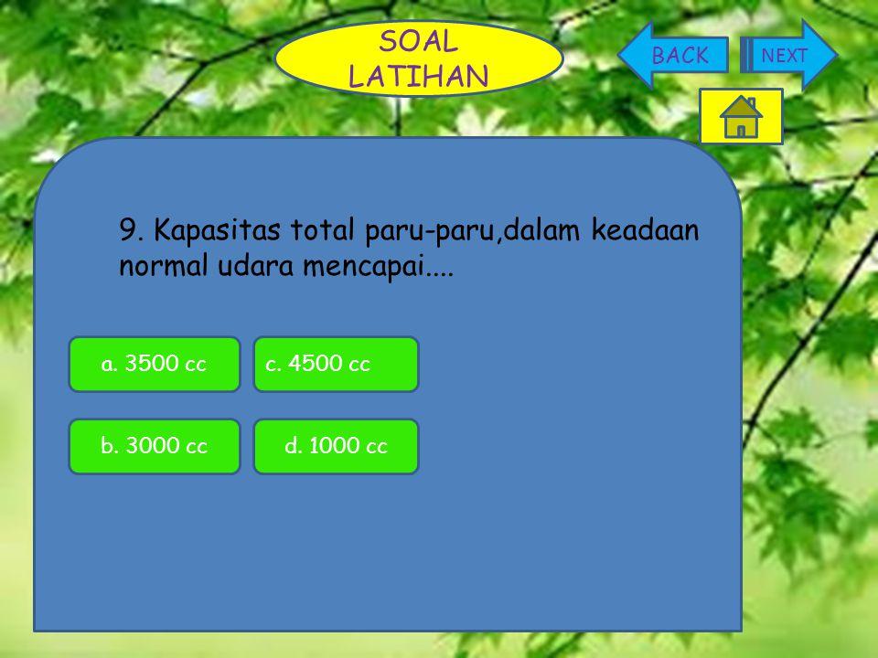 9. Kapasitas total paru-paru,dalam keadaan normal udara mencapai.... SOAL LATIHAN NEXT BACK c. 4500 cca. 3500 cc b. 3000 ccd. 1000 cc