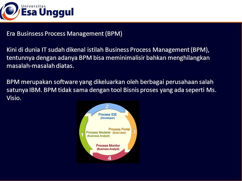 Era Businsess Process Management (BPM) Kini di dunia IT sudah dikenal istilah Business Process Management (BPM), tentunnya dengan adanya BPM bisa memi