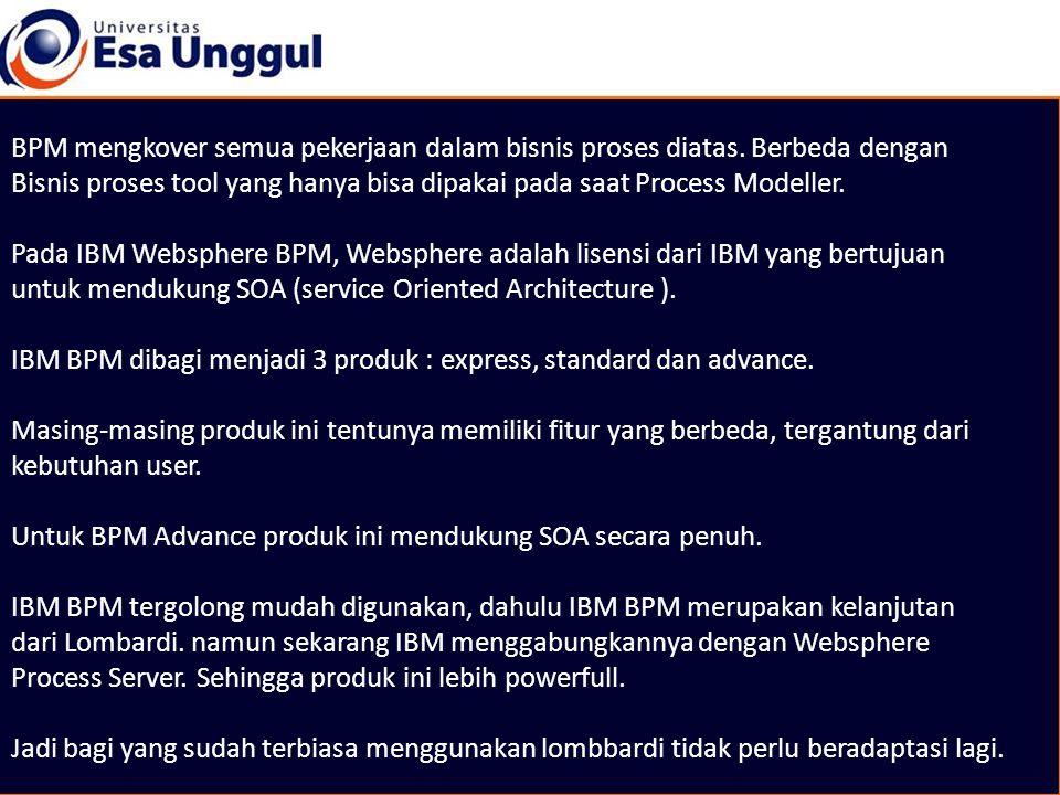BPM mengkover semua pekerjaan dalam bisnis proses diatas. Berbeda dengan Bisnis proses tool yang hanya bisa dipakai pada saat Process Modeller. Pada I