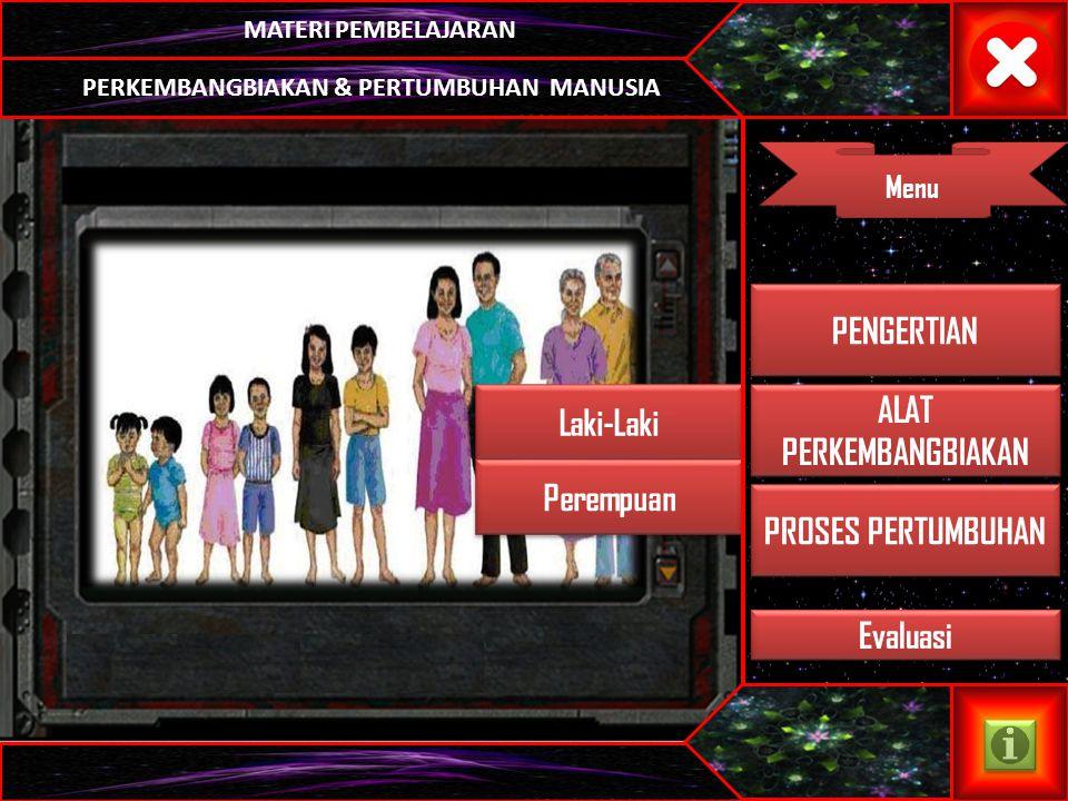 MATERI PEMBELAJARAN Menu PERKEMBANGBIAKAN & PERTUMBUHAN MANUSIA Laki-Laki Perempuan ALAT PERKEMBANGBIAKAN ALAT PERKEMBANGBIAKAN PENGERTIAN PROSES PERTUMBUHAN Evaluasi