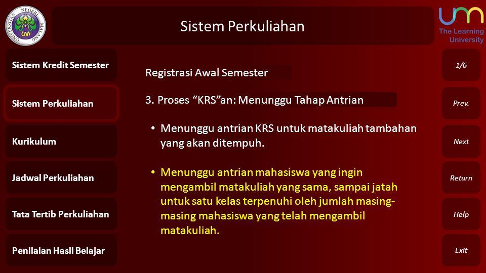 """Sistem Perkuliahan Exit Return Next Prev. 3. Proses """"KRS""""an: Menunggu Tahap Antrian 1/6 Sistem Perkuliahan Kurikulum Jadwal Perkuliahan Tata Tertib Pe"""