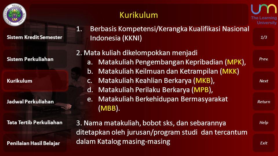 Kurikulum Exit Return Next Prev. 1.Berbasis Kompetensi/Kerangka Kualifikasi Nasional Indonesia (KKNI) 2. Mata kuliah dikelompokkan menjadi a.Matakulia