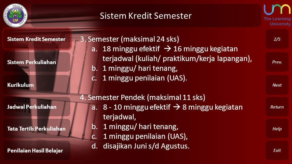 Sistem Perkuliahan Exit Return Next Prev.4.