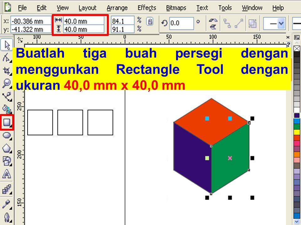 Buatlah tiga buah persegi dengan menggunkan Rectangle Tool dengan ukuran 40,0 mm x 40,0 mm