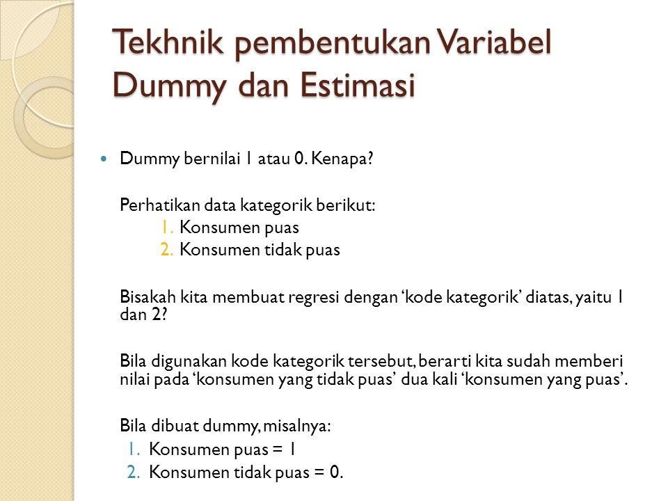 Tekhnik pembentukan Variabel Dummy dan Estimasi  Regresi yang dibuat menunjukkan kondisi dimana konsumen merasa puas (Dummy berharga 1  Dummy ada dalam model), dan kondisi sebaliknya (Dummy berharga 0  Dummy 'hilang' dari model).