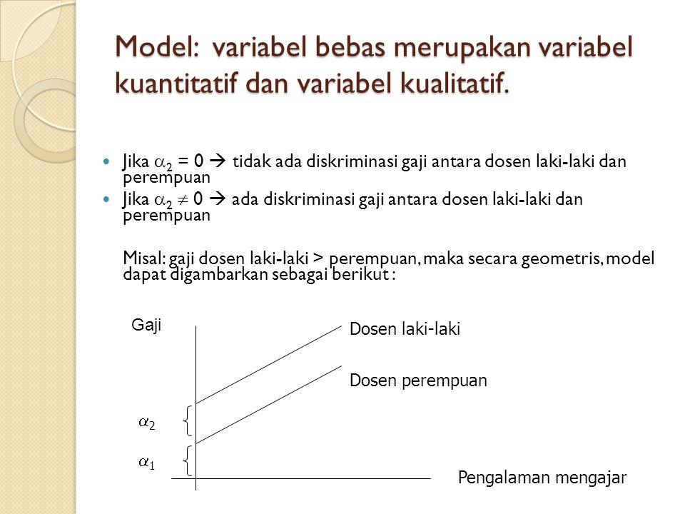 MEMBANDINGKAN DUA REGRESI  Perhatikan persamaan berikut: Tabungan (Y) =  1 +  2 Pendapatan (X) + u  Apakah hubungannya selalu demikian (sama) pada saat sebelum krisis moneter dan ketika krisis moneter.