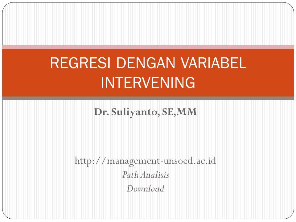 Regresi variabel bebas (X) terhadap variabel terhantung (Y) dengan memasukan variabel mediasi (M) dalam persamaan