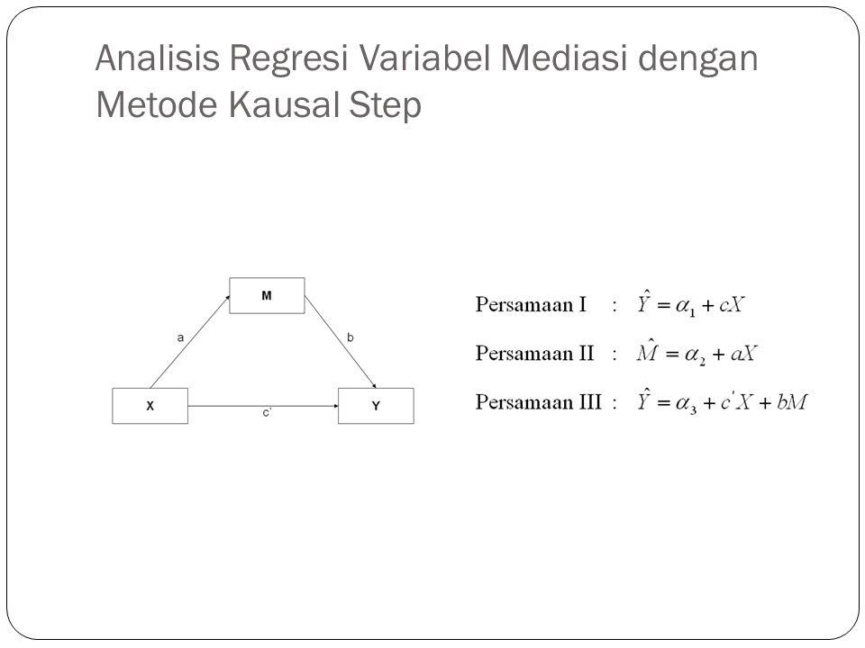 Kriteria Pengujian  Variabel M dinyatakan sebagai variabel mediasi sempurna (perfect mediation) jika, setelah memasukan variabel M pengaruh variabel X terhadap Y menurun menjadi nol (c'=0) atau pengaruh variabel X terhadap Y yang tadinya signifikan (sebelum memasukan variabel M) menjadi tidak signifikan setelah memasukan variabel M ke dalam model persamaan regresi.
