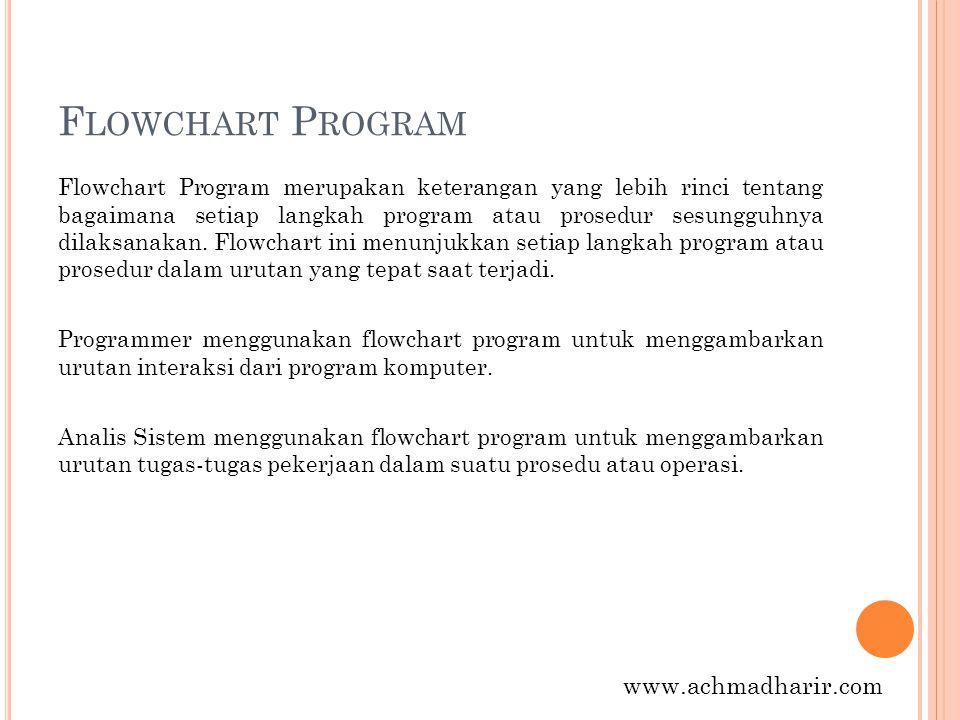 F LOWCHART P ROGRAM Flowchart Program merupakan keterangan yang lebih rinci tentang bagaimana setiap langkah program atau prosedur sesungguhnya dilaks