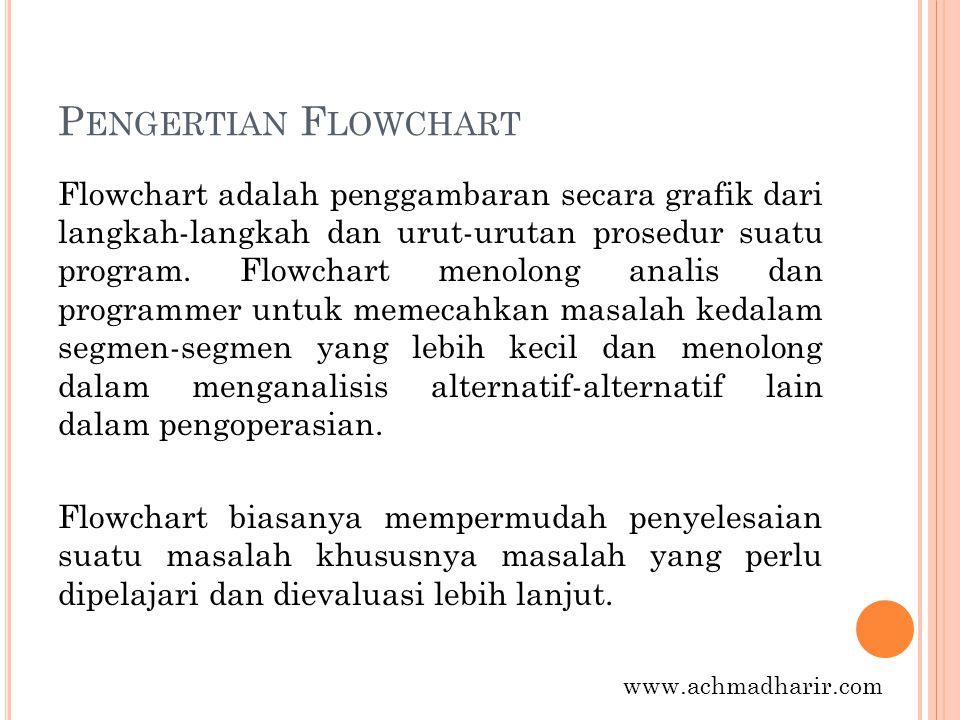 P ENGERTIAN F LOWCHART Flowchart adalah penggambaran secara grafik dari langkah-langkah dan urut-urutan prosedur suatu program. Flowchart menolong ana