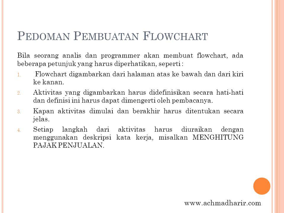 P EDOMAN P EMBUATAN F LOWCHART Bila seorang analis dan programmer akan membuat flowchart, ada beberapa petunjuk yang harus diperhatikan, seperti : 5.