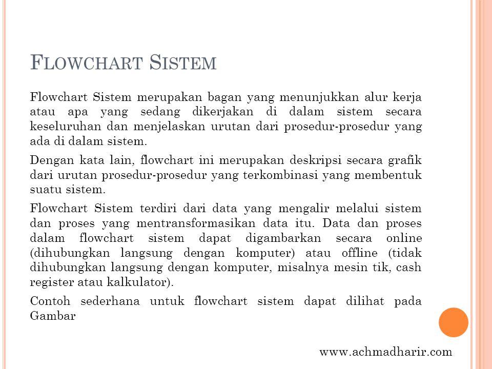 F LOWCHART S ISTEM Flowchart Sistem merupakan bagan yang menunjukkan alur kerja atau apa yang sedang dikerjakan di dalam sistem secara keseluruhan dan