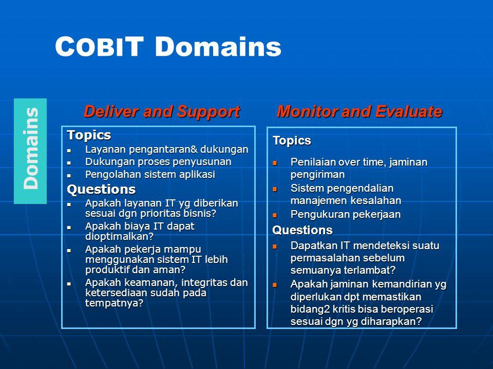 Summary Penyelidik telah menjelaskan implementasi dari CoBiT di SLCC, sebuah institusi berukuran sedang untuk pembelajaran yang lebih tinggi, dan menjawab pertanyaan - pertanyaan penelitian yang berhubungan dengan aspek manajemen dari penerapan program IT governance.