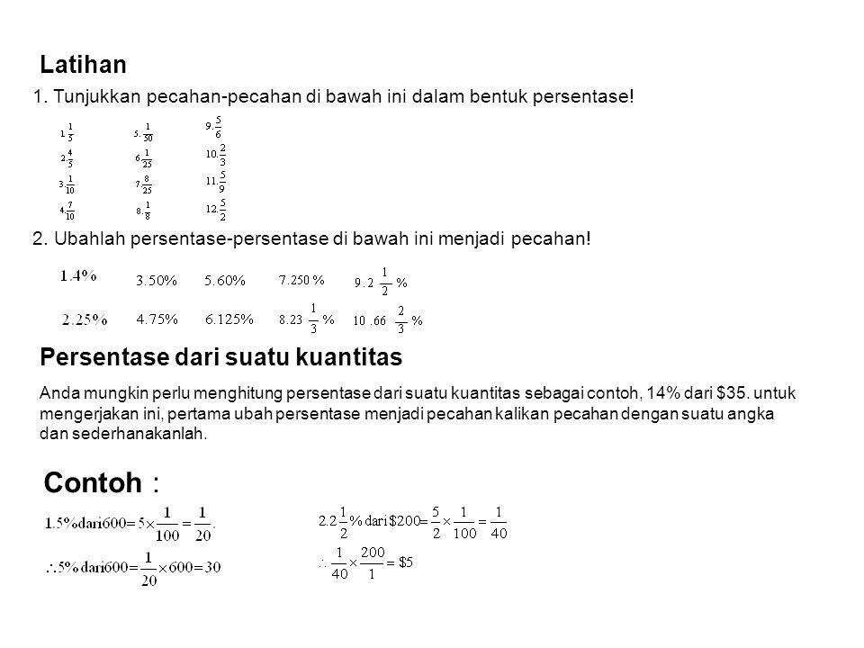 Contoh : Menuliskan persentase sebagai pecahan Untuk mengubah persentase sebagai pecahan ubah simbol % menjadi x1/100 dan sederhanakanlah pecahan. Con