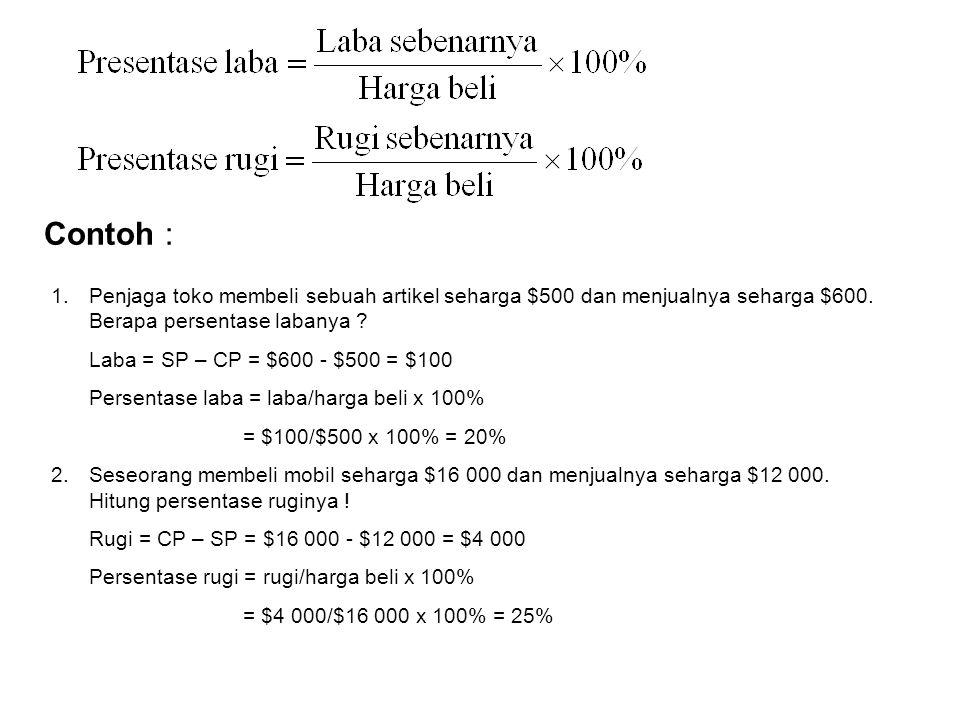 Laba dan Rugi Laba = SP - CP Rugi = CP - SP (Laba = Harga jual – Harga beli) (Rugi = Harga beli – Harga jual) Bila jumlah uang yang berasal dari penju