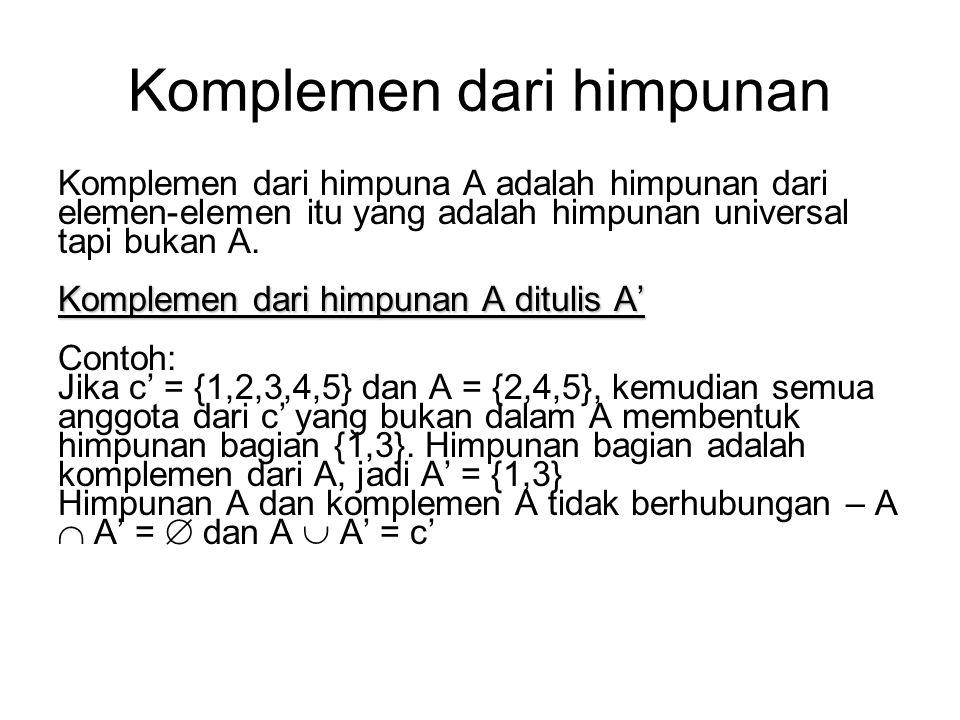 Latihan 1.Untuk setiap himpunan di bawah ini, tentukan irisannya. a){1,2,3,4,5,6} dan {4,5,8,9,10} b){a,b,c,d} dan {w,x,y,z} 2.Tuliskan himpunan gabun