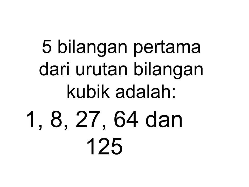 Contoh: 6 x 6 = 36 dan 36 x 6 = 216 jadi 216 adalah bilangan kubik biasanya di tulis dengan 6 x 6 x 6 = 216 atau 6 3 = 216